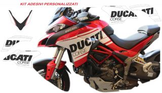 Sticker-kit Ducati corse in white/black for Multistrada 1260 design personalized MY 2018 and Multistrada 950 MY 2019