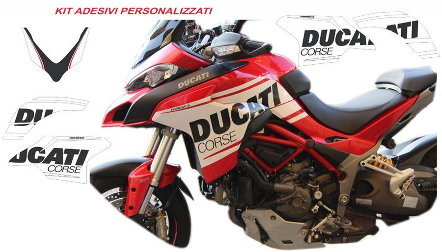 Sticker Kit Ducati Corse In Whiteblack For Multistrada 1260 Design Personalized My 2018 And Multistrada 950 My 2019