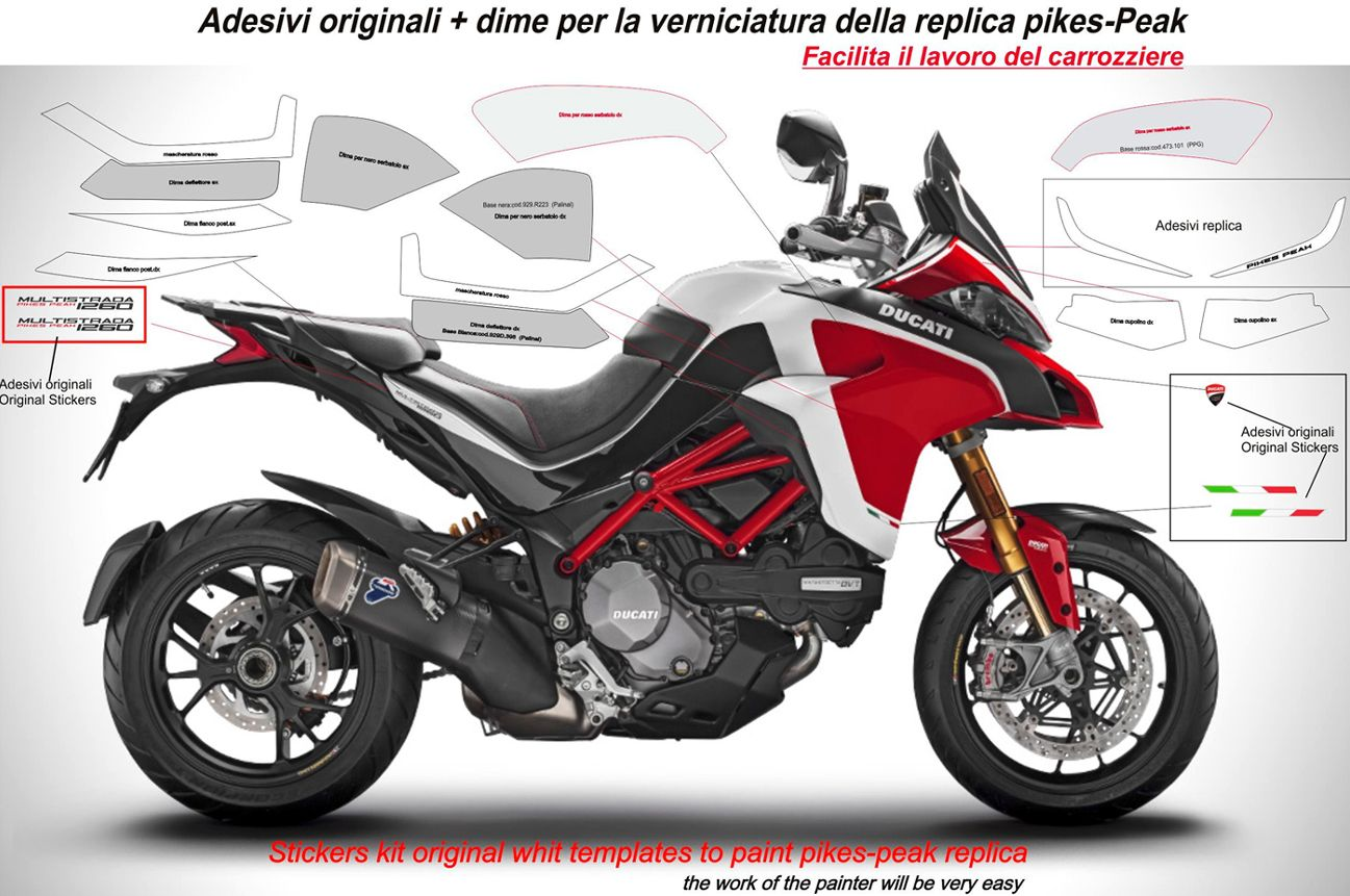 Stickers Kit Templates For The Original Painting Ducati Multistrada 1260 Pikes Peak