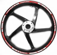 decal sticker kit wheel stripes red / white for Ducati