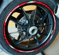 Decals set wheel Ducati corse rot with ital. Flag