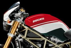 EMBLEM Ducati white (3D) 150x25mm for Monster-Tank ab 1998