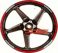 Aufkleber Felgenrand Ducati Satz Streifen Rot, Schrift Weiß