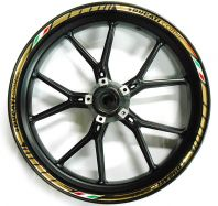 Decal set wheel Ducati corse gold with ital. Flag