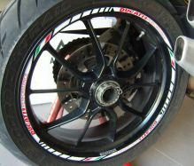 Decal set wheel Ducati Performance white with ital. Flag