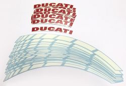 Decal Sticker Ducati set wheel stripes white, written red