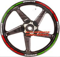 Sticker decal stripes set tricolore for monster wheels