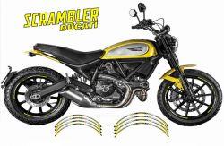 Aufkleber Felgenrand für 2 Felgen  Ducati Scrambler Gelb