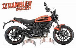 Aufkleber Felgenrand für 2 Felgen Ducati Scrambler Orange