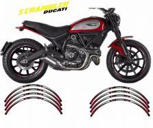 Aufkleber Felgenrand für 2 Felgen Ducati Scrambler rot