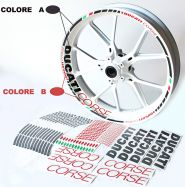 decal sticker kit wheel stripes Ducati corse red/black