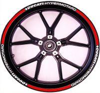 Aufkleber Felgenrand für 2 Felgen Rot/Weiß Ducati Hypermotard