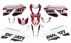 Aufkleber Set Weiß/Schwarz für Ducati Hypermotard 796/1100