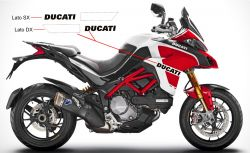 Stickers Ducati in black and white bands for Multistrada 1260 Pikes-Peak