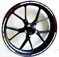 decal sticker kit wheel stripes Ducati corse, Written in red / Stripes in white