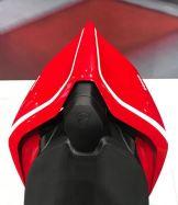 Aufkleber - Set Streifen in Weiß mit ital. Flagge für rechts&links Sitzhöcker-Abdeckung Ducati Panigale V4R  Bj 2019