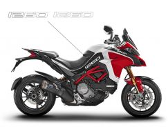 Decals Stickers 1260 in white for side panels - Ducati Multistrada 1260 Pikes Peak