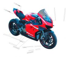 White stickers kit SUPERLEGGERA design - Ducati Panigale V4 / V4R / V4 2020