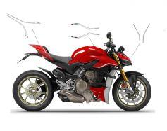 Aufkleber - Set Streifen in Weiß für Ducati Streetfighter V4 / V4S
