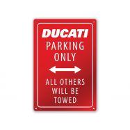 Metallschild Ducati Parking 20x30 cm Weiß-Rot