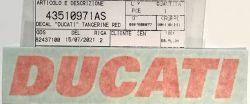 Aufkleber DUCATI in Tangerine red für Tank Ducati Monster